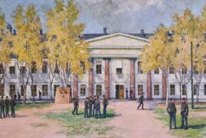 Kadettikoulun päärakennus maalauksessa